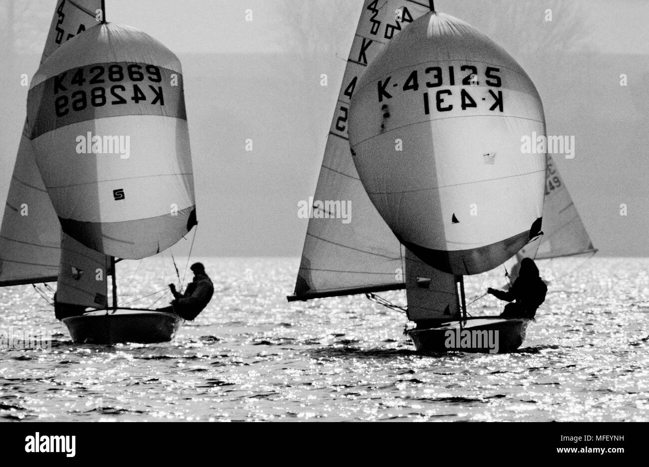 K420 sailing on Rutland Water, photographed for the Sunday Express Magazine. 1986 - Stock Image