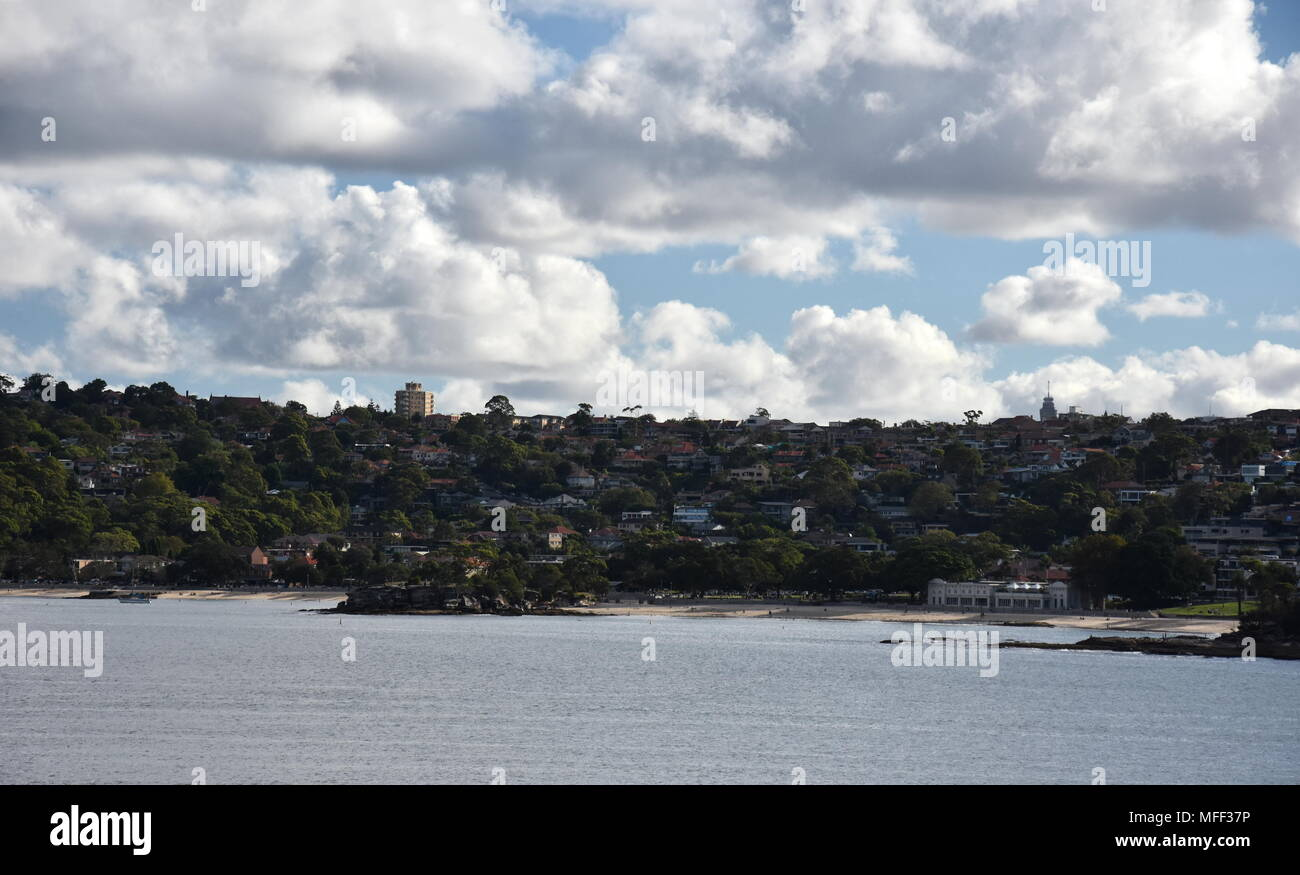 View of Mosman, Balmoral beach and  the Bathers Pavillion from Castle Rock Beach, at Dobroyd Head. - Stock Image