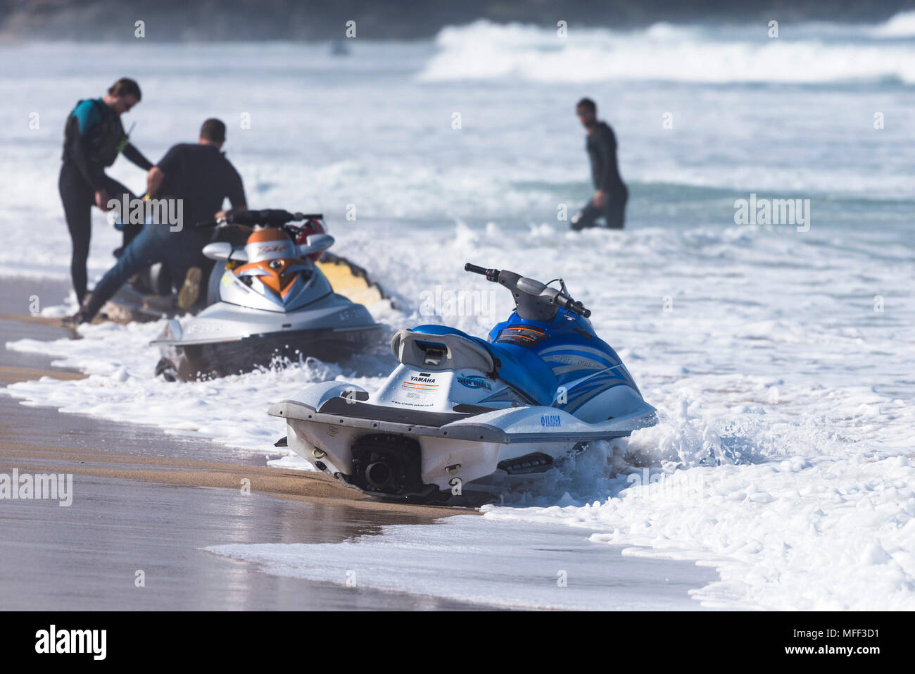A Yamaha Jetski on the shoreline at Fistral Beach in Newquay in Cornwall. - Stock Image
