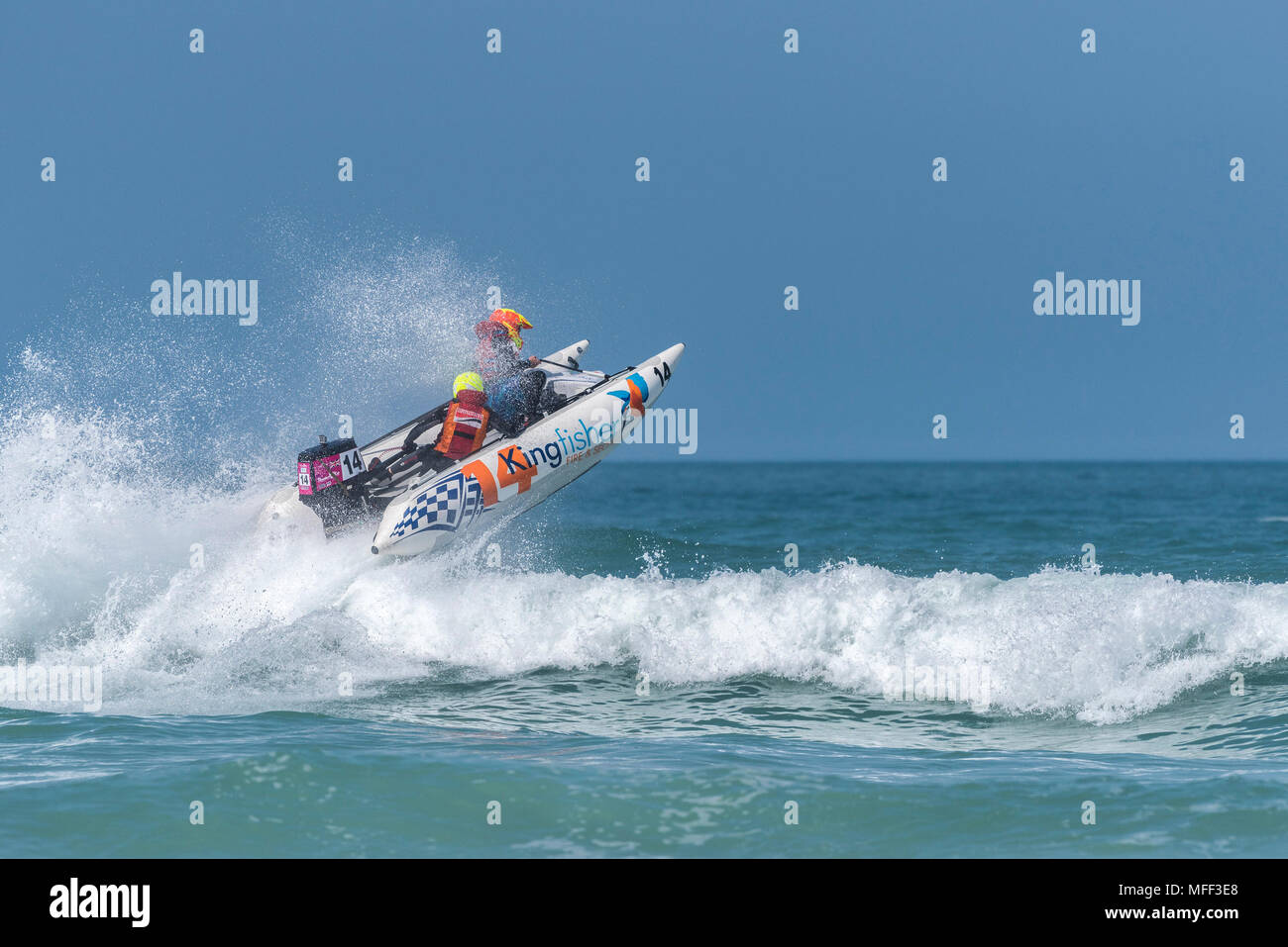 ThunderCat Racing at Fistral in Newquay in Cornwall. - Stock Image