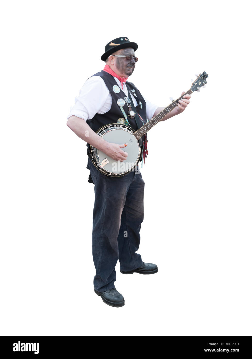 Cut out image of a banjo player - Stock Image