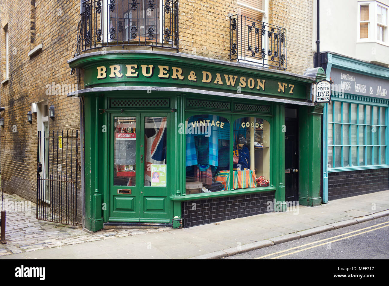 Breuer & Dawson vintage clothing shop in King Street, Margate - Stock Image