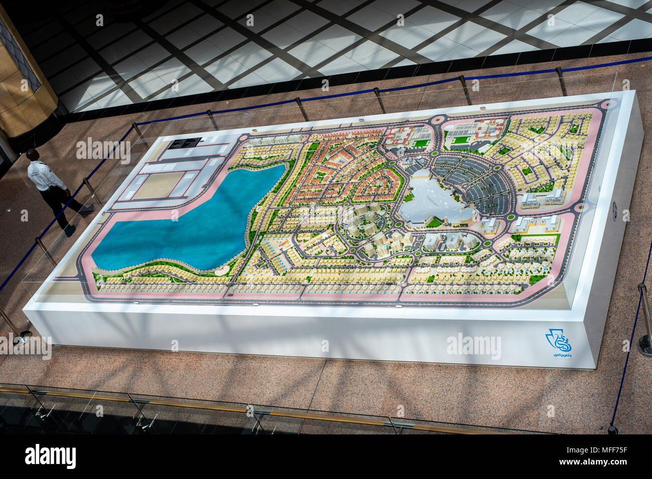 Giant 3d model, Plan of new city in Abu Dhabi - Stock Image