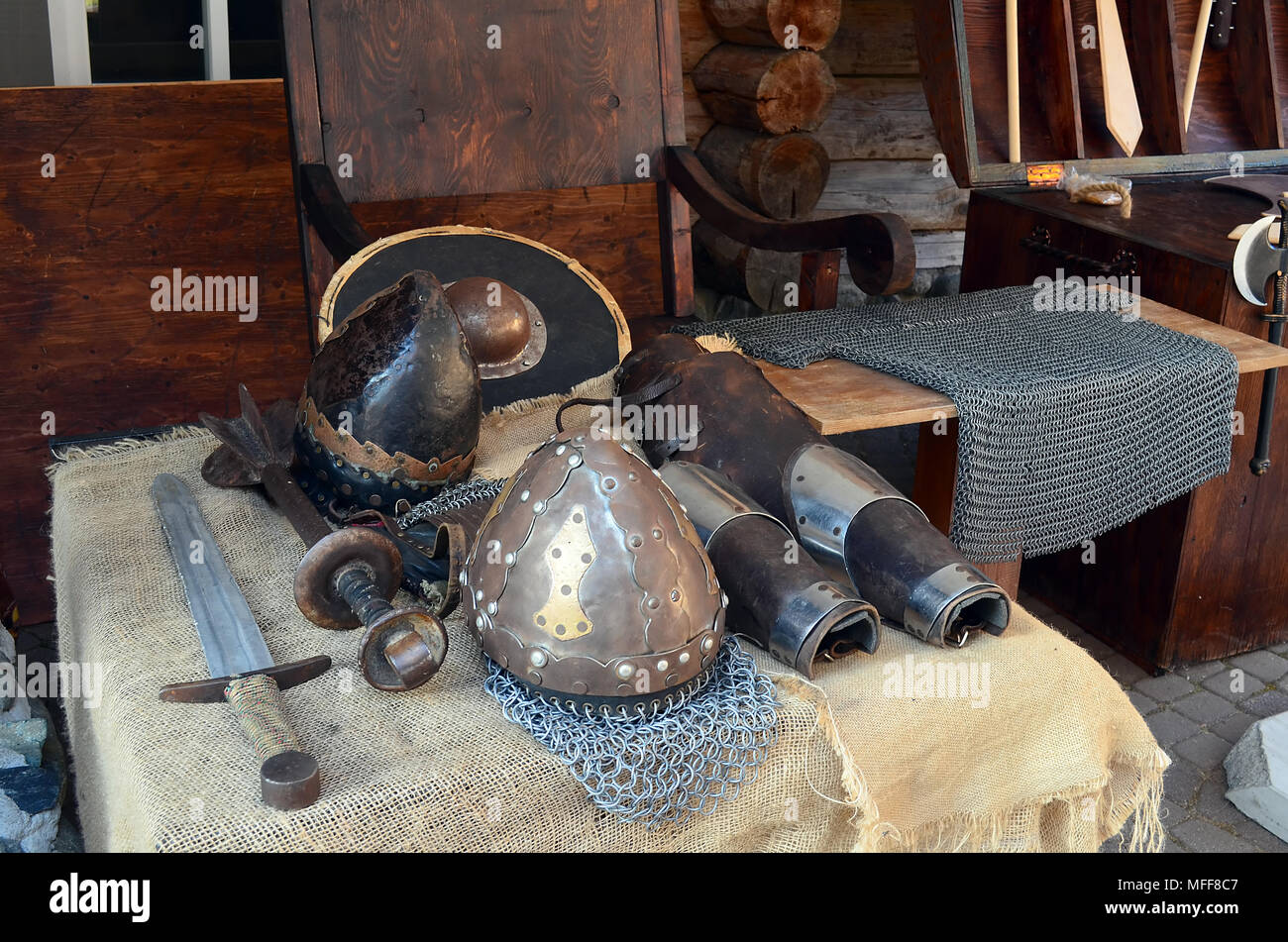 The armor of the Slavic Knight. Helmet, chain mail, sword and shield - Stock Image