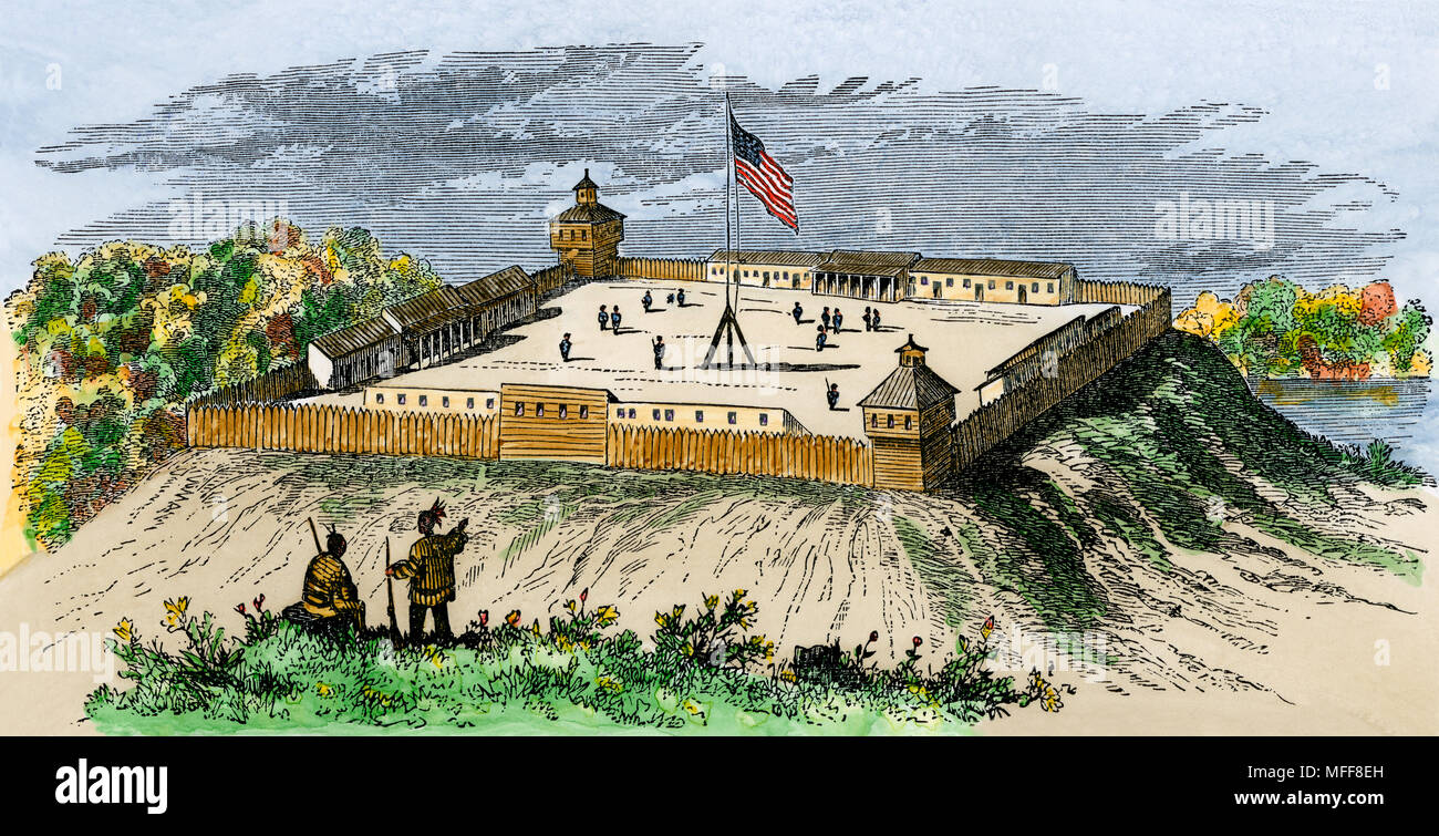 Fort Wayne in 1812, Indiana Territory. Hand-colored woodcut Stock Photo