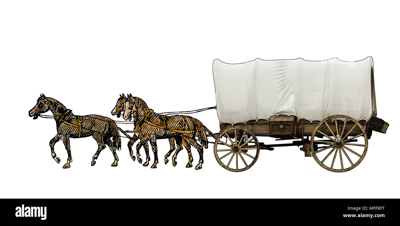 Covered wagon pulled by horses. Digitally combined photograph and a hand-colored woodcut - Stock Image