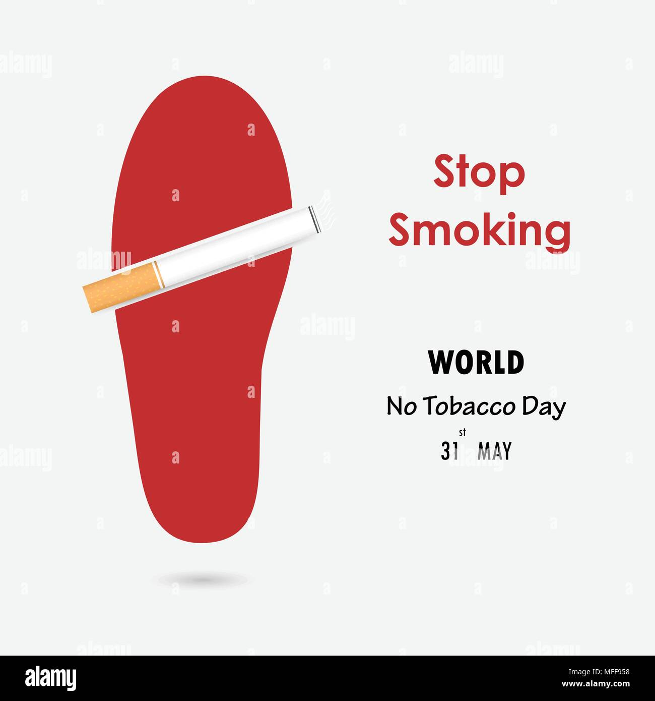 Shoe Printsfoot Prints And Quit Tobacco Vector Logo Design TemplateMay 31st World No DayNo Smoking Day Awareness Idea Campaign For Greeting