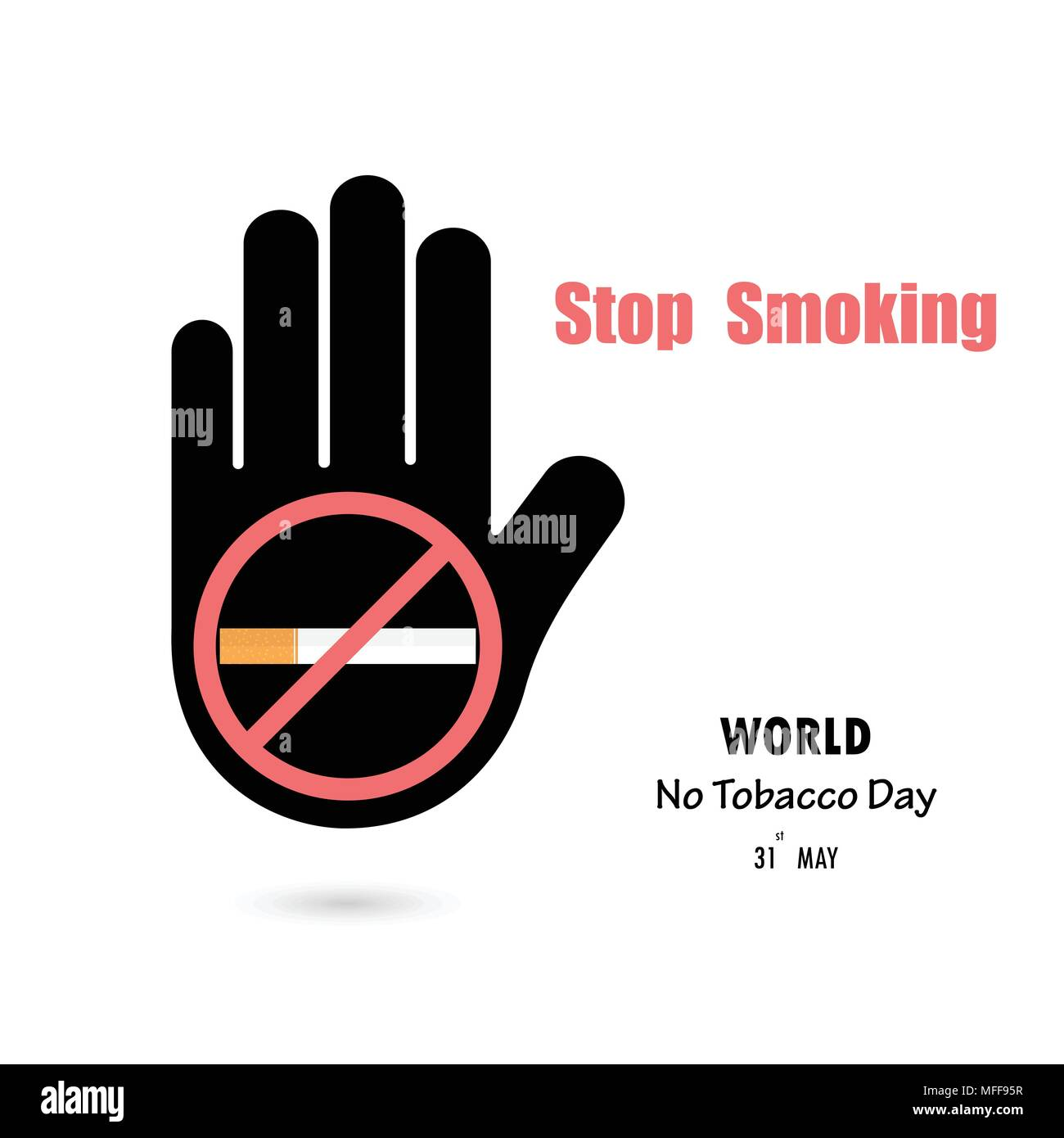 Human Hands And Quit Tobacco Vector Logo Design Template May 31st World No Tobacco Day No Smoking Day Awareness Idea Campaign For Greeting Card Poster Stock Vector Image Art Alamy