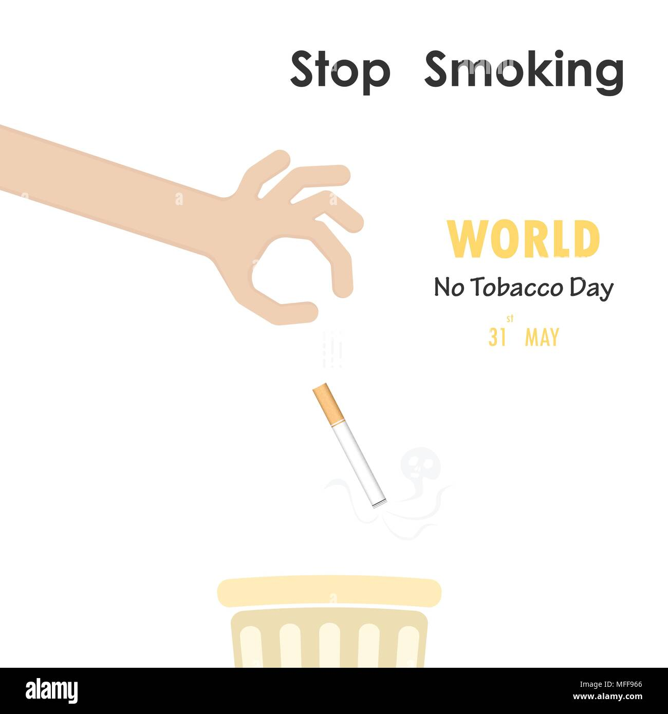 Human Hands And Quit Tobacco Vector Logo Design TemplateMay 31st World No DayNo Smoking Day Awareness Idea Campaign For Greeting CardPoster