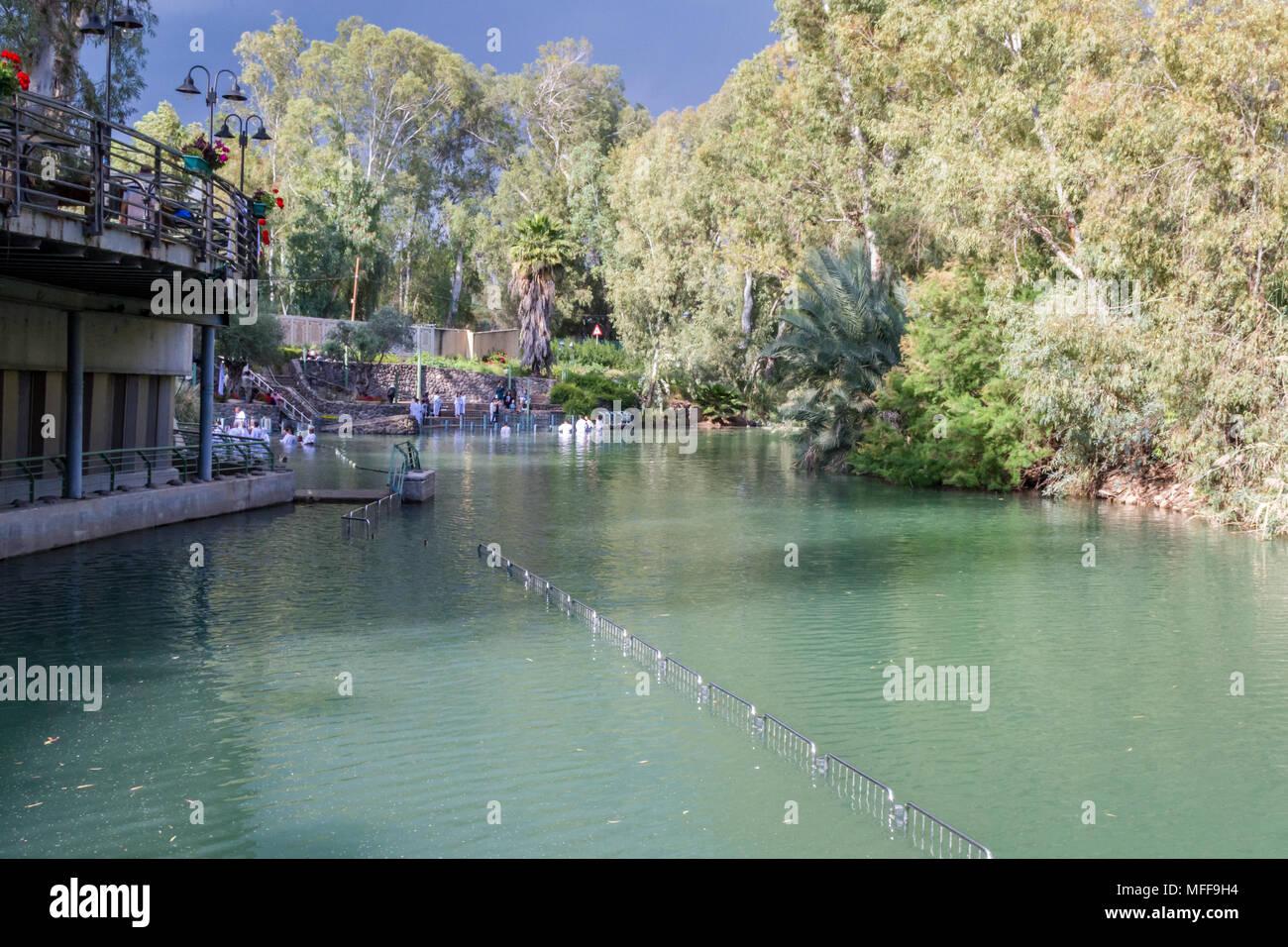 Shores of Jordan River at Baptismal Site, Israel Stock Photo