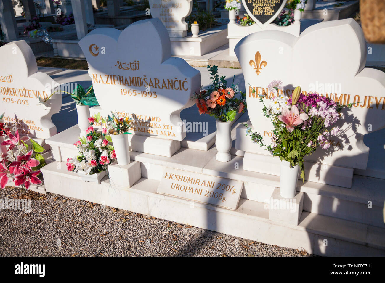 Graves of the victims of the 1993 Bosnian War in Mostar, Bosnia and Herzegovina - Stock Image