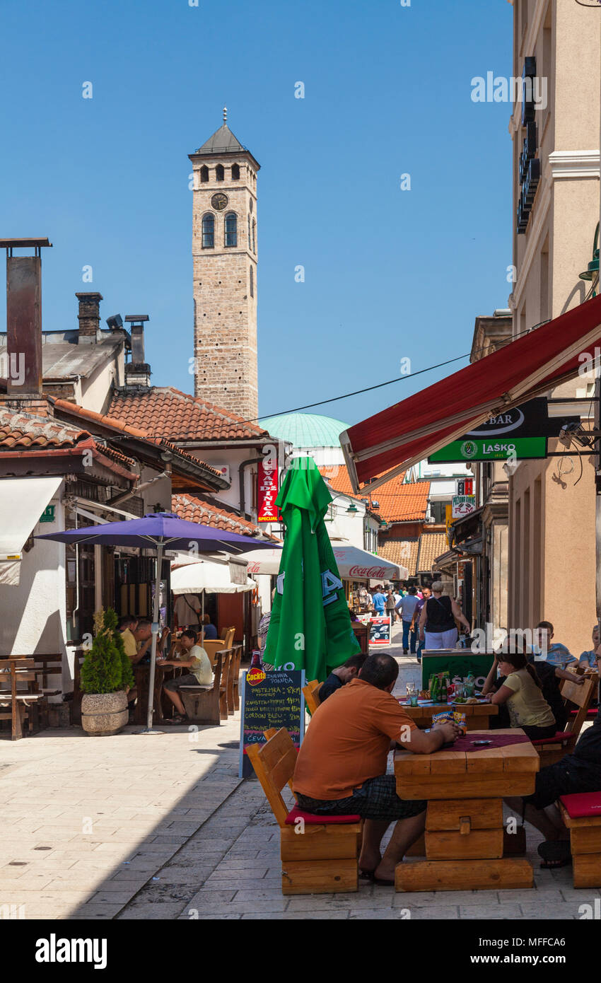 A street cafe in the old town of Sarajevo, Bosnia and Herzegovina Stock Photo
