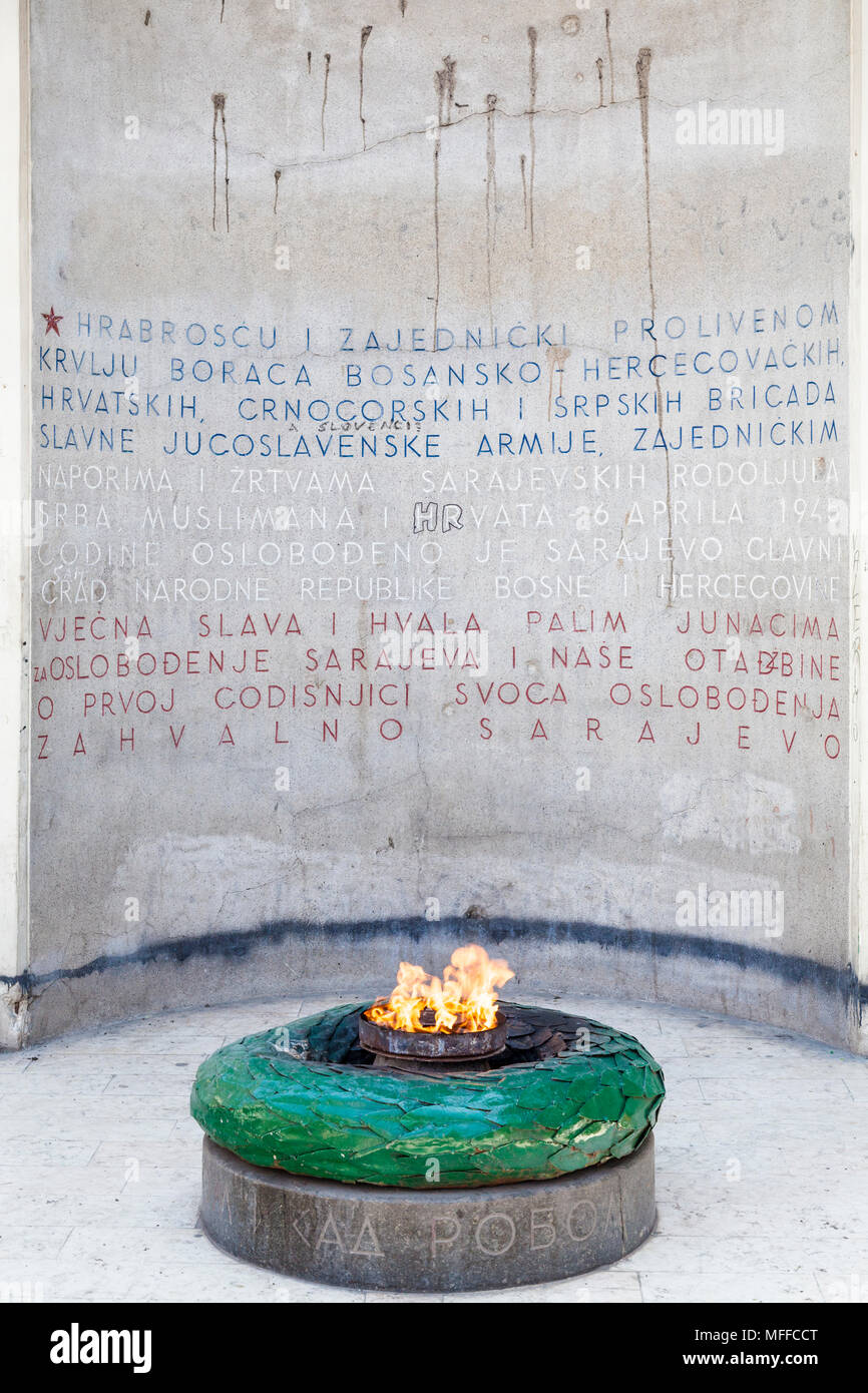 The eternal flame by the Sacred Heart Cathedral in Sarajevo, Bosnia and Herzegovina - Stock Image