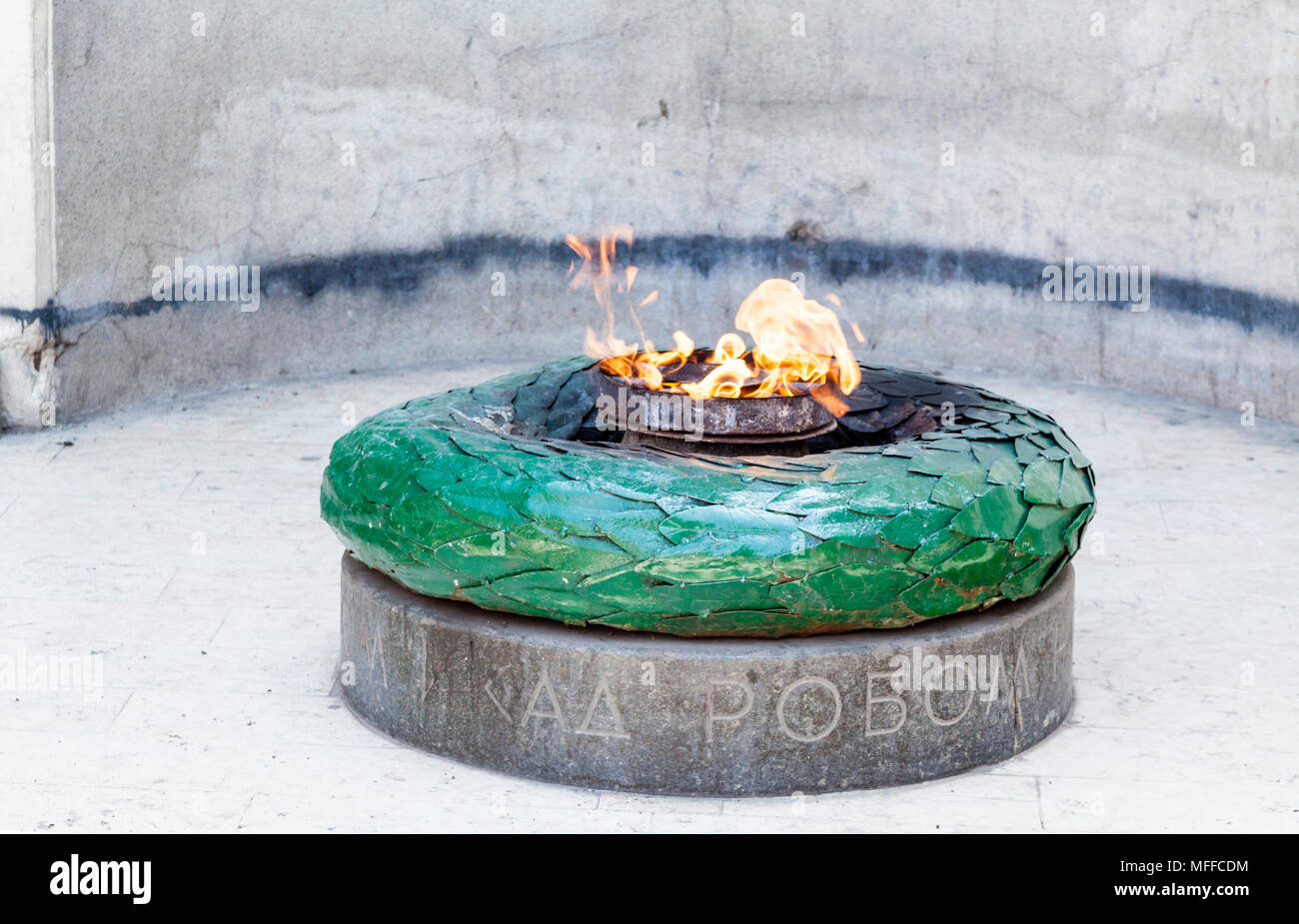 Close up of the eternal flame by the Sacred Heart Cathedral in Sarajevo, Bosnia and Herzegovina - Stock Image