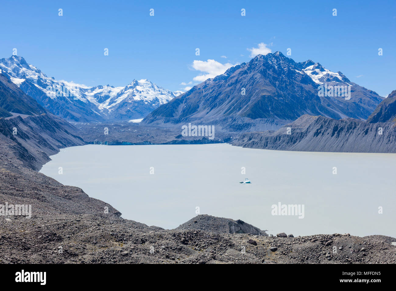 new zealand south island new zealand Tasman glacier from the viewpoint mount cook national park south island new zealand nz - Stock Image
