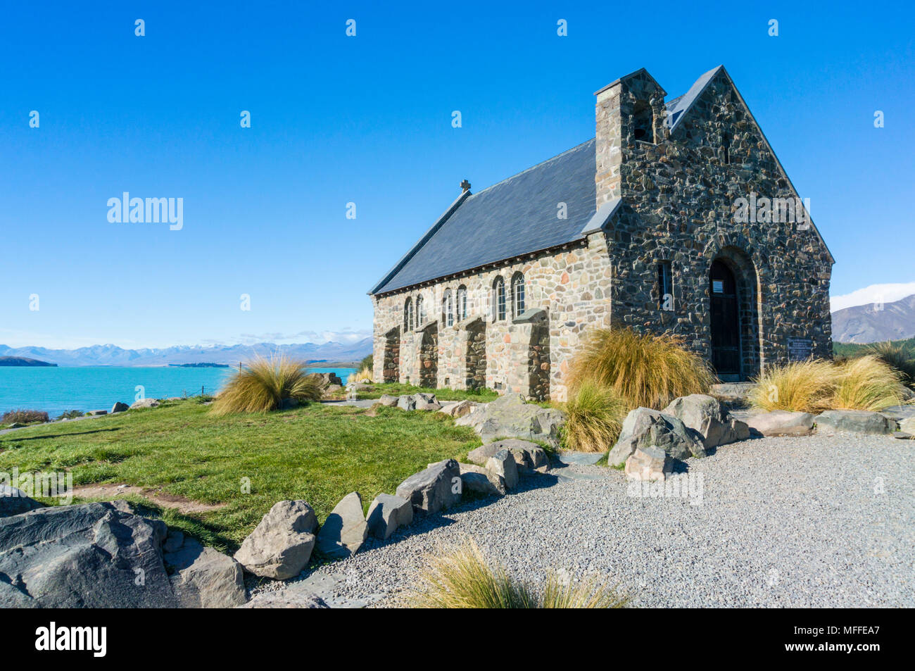 church of the good shepherd  lake tekapo new zealand mackenzie district south island nz TEKAPO lake tekapo new zealand south island new zealand - Stock Image