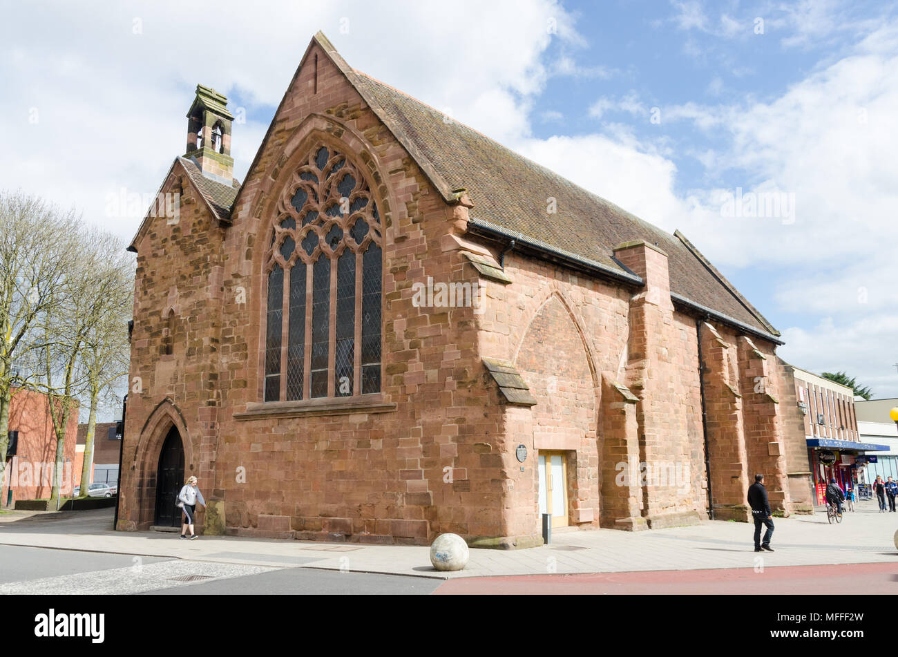 Former chapel of the Hospital of St John The Baptist which subsequently became a free grammar school and is now a scheduled ancient monument,Coventry - Stock Image