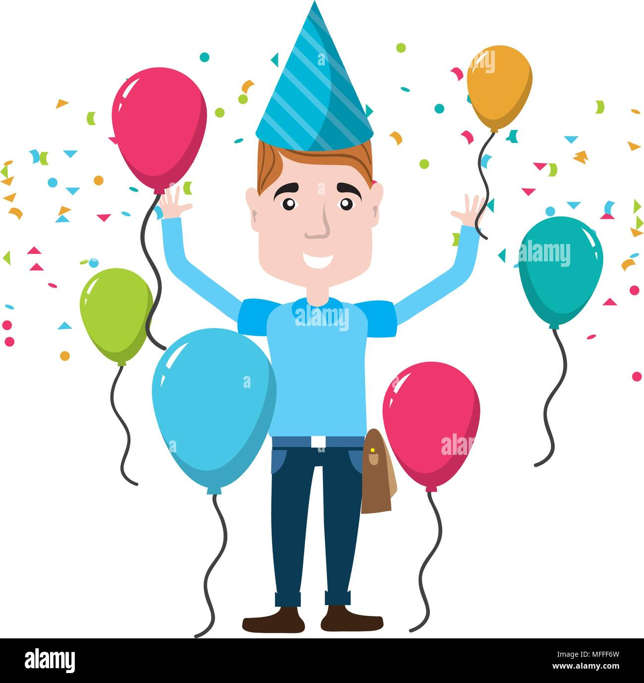 Man Celebrating Happy Birthday With Balloons And Hat