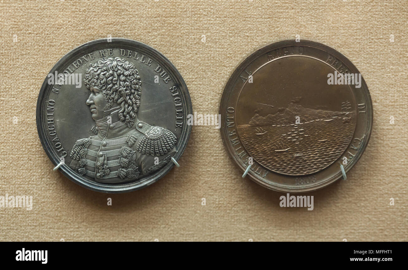 Commemorative medal for the capture of Capri by Joachim Murat (1808) designed by medallists L. Jaley and V. Catenacci on display in the National Archaeological Museum (Museo Archeologico Nazionale di Napoli) in Naples, Campania, Italy. - Stock Image