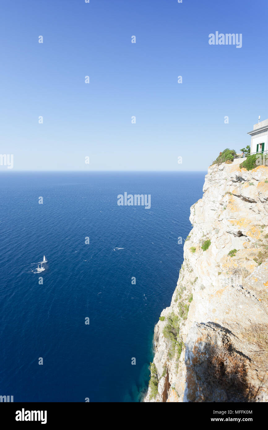 Cap de Formentor, Mallorca, Spain - Nice view onto the sea from the lighthouse of Formentor - Stock Image
