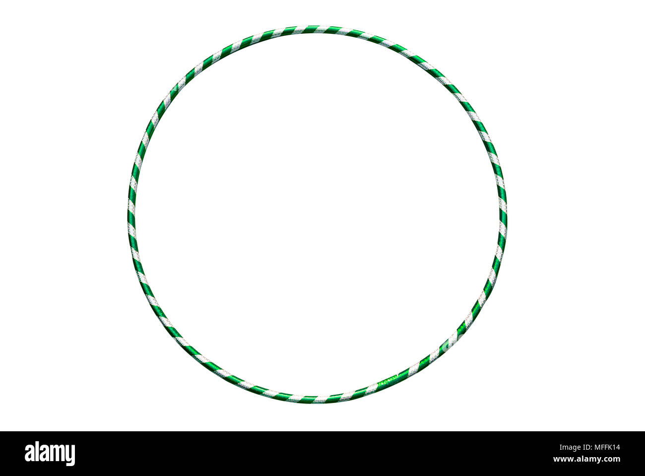 The hula Hoop silver with green closeup - Stock Image