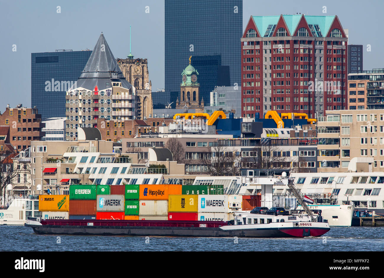 The skyline of Rotterdam, on the Nieuwe Maas, river, skyscrapers, buildings in the city, Netherlands, Stock Photo