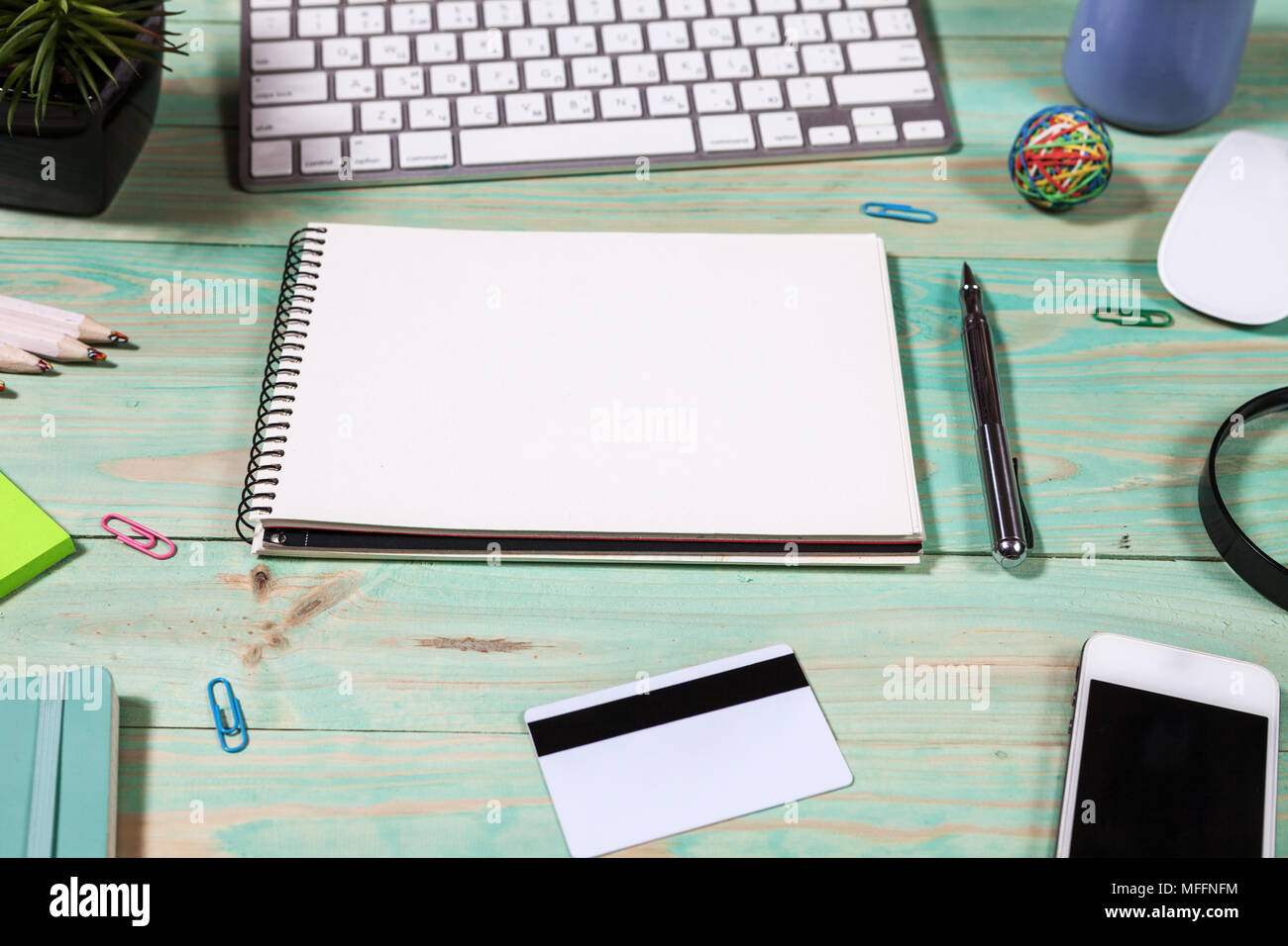 laptop office desk. Office Desk Table With Laptop, Pen And Notebook. Top View Copy Space. Online Shopping Concept. Laptop