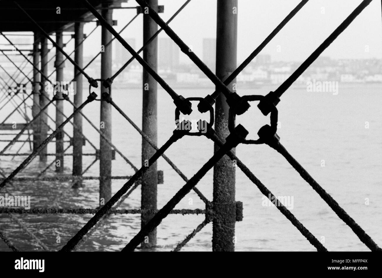 Southend Pier contruction. 2018 Showing Victorian Iron Work engineering under the pier - Stock Image