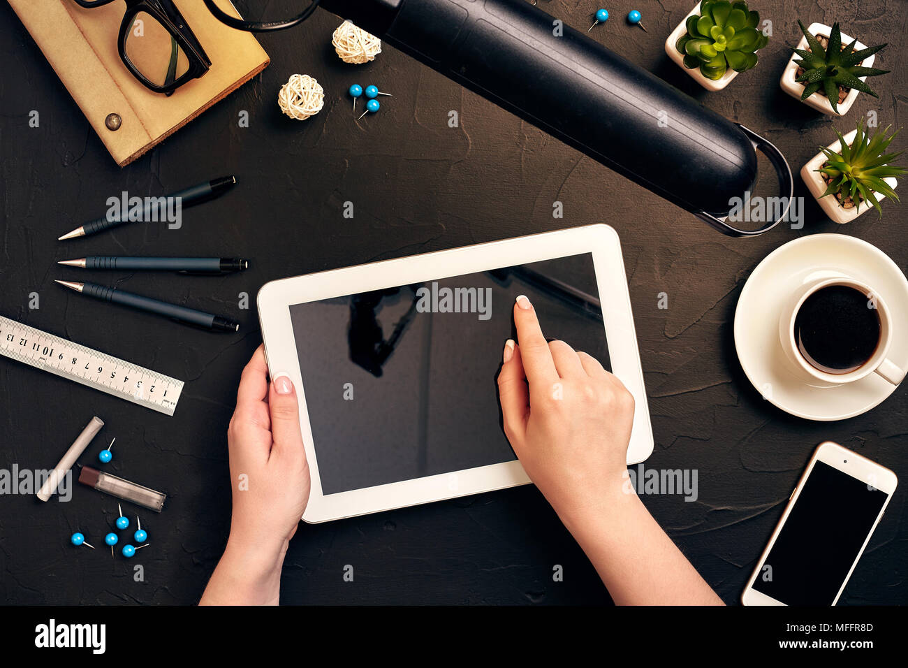 Architects tools stock photos architects tools stock images alamy architect working on blueprint architects workplace architectural project blueprints tablet pc malvernweather Image collections