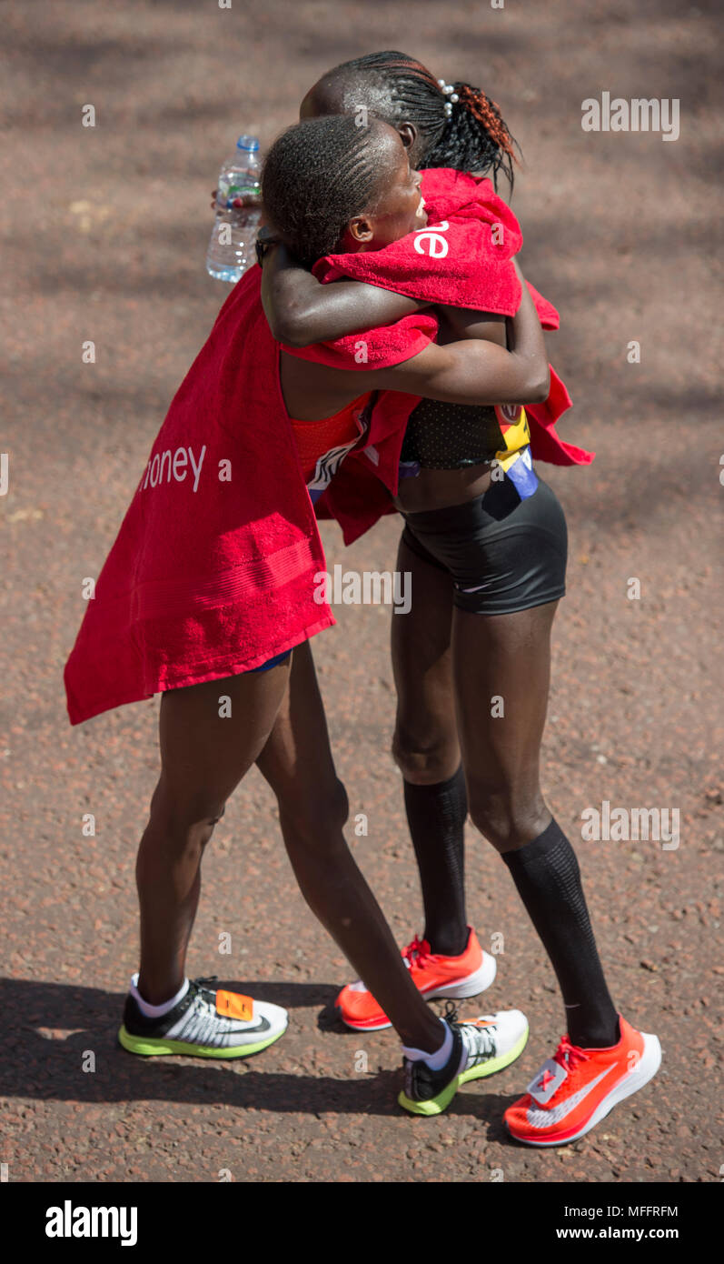 Virgin Money London Marathon 2018. Vivian Cheruiyot (KEN) winner, with Brigid Kosgei (KEN) second. Stock Photo