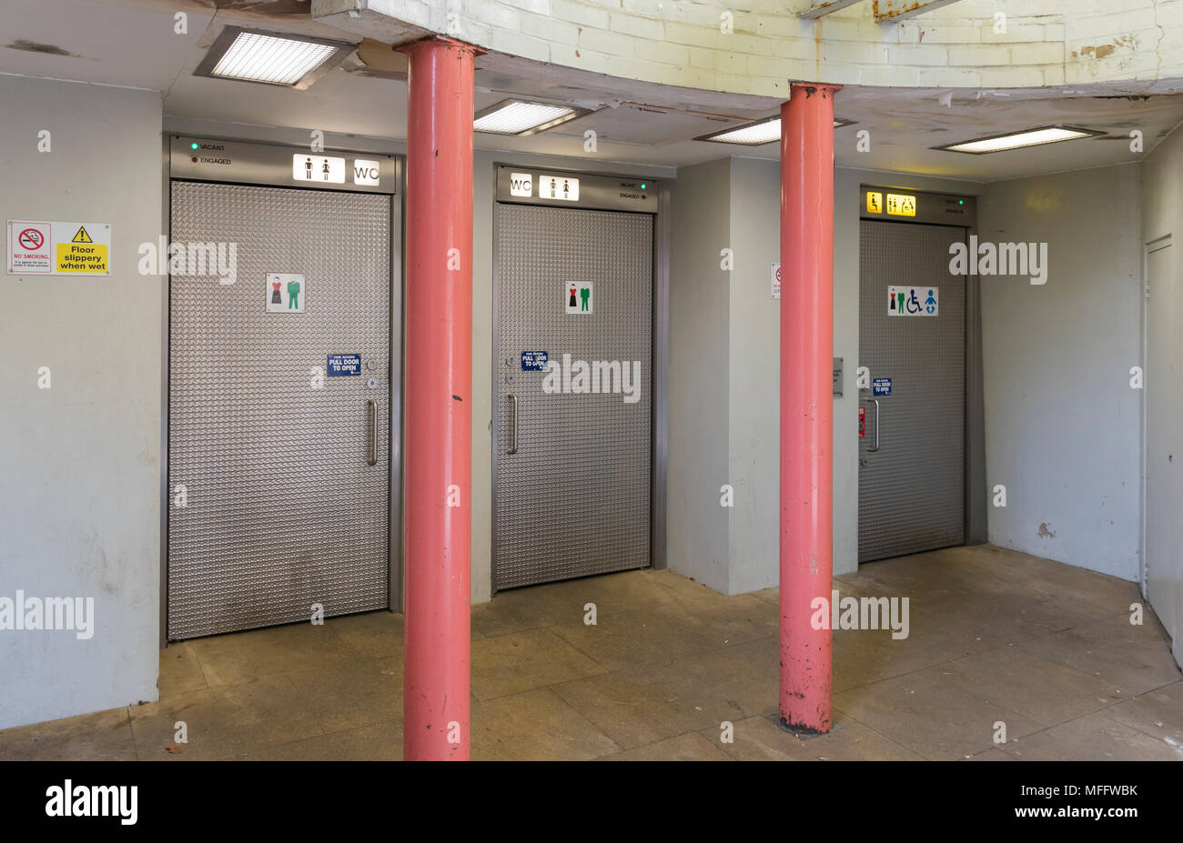 Public toilets with individual and separate cubicles in the UK. - Stock Image