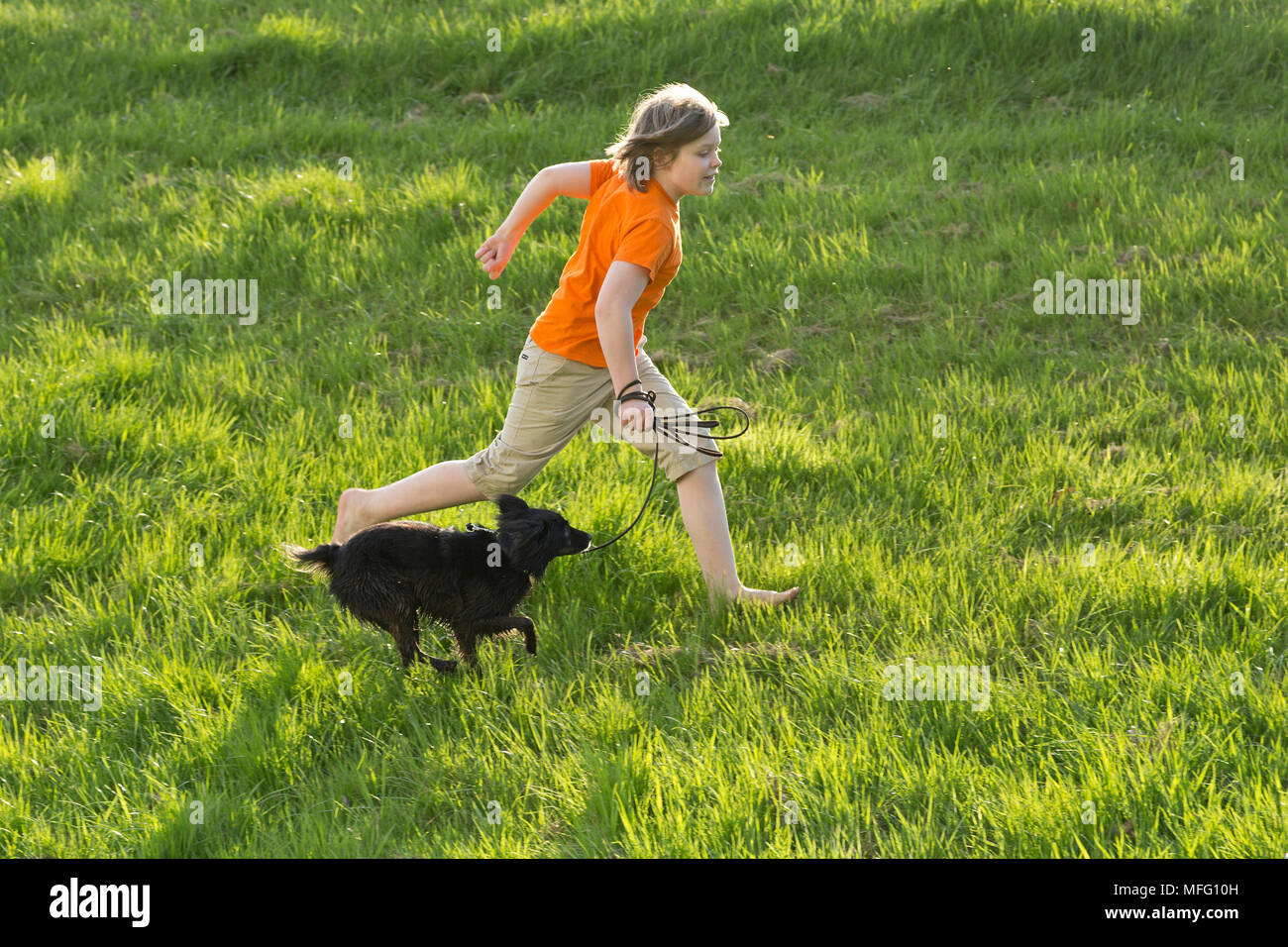 boy running with dog across meadow - Stock Image
