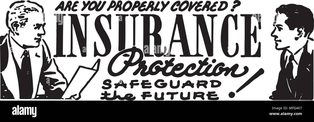 Insurance Protection - Retro Ad Art Banner Stock Vector