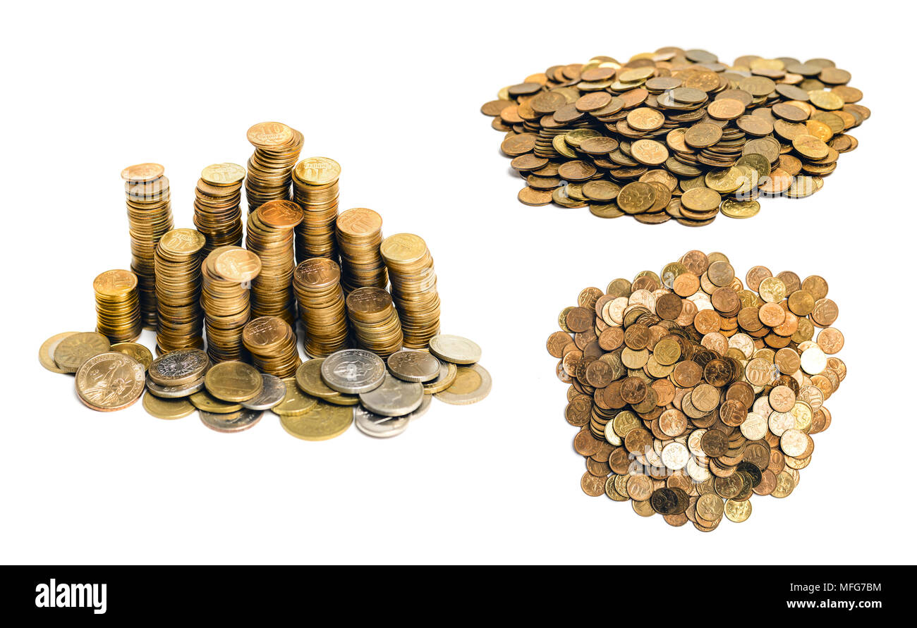gold colored coins heap and stack isolated on white - Stock Image