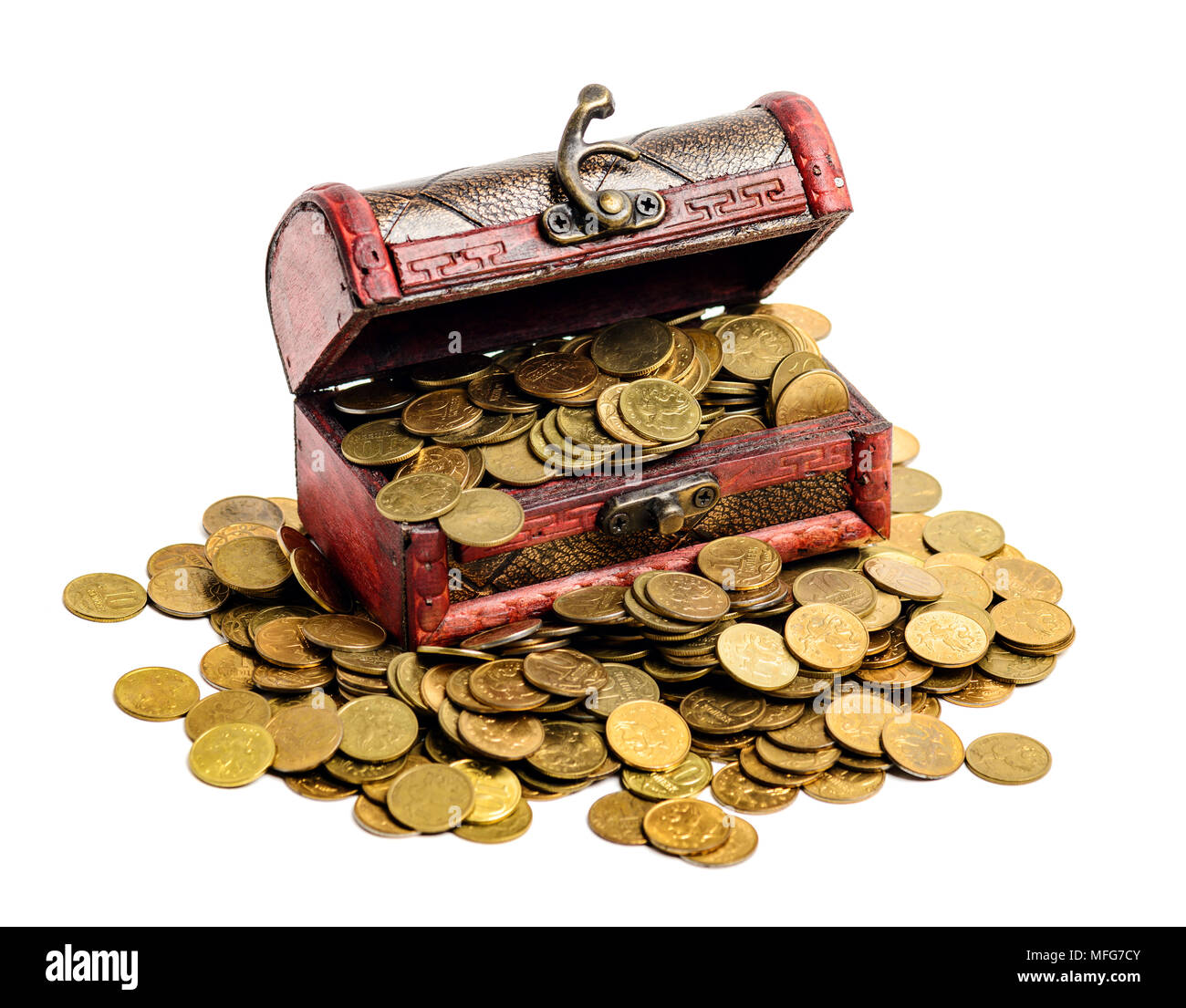 Open treasure chest filled with gold colored coins isolated on white - Stock Image