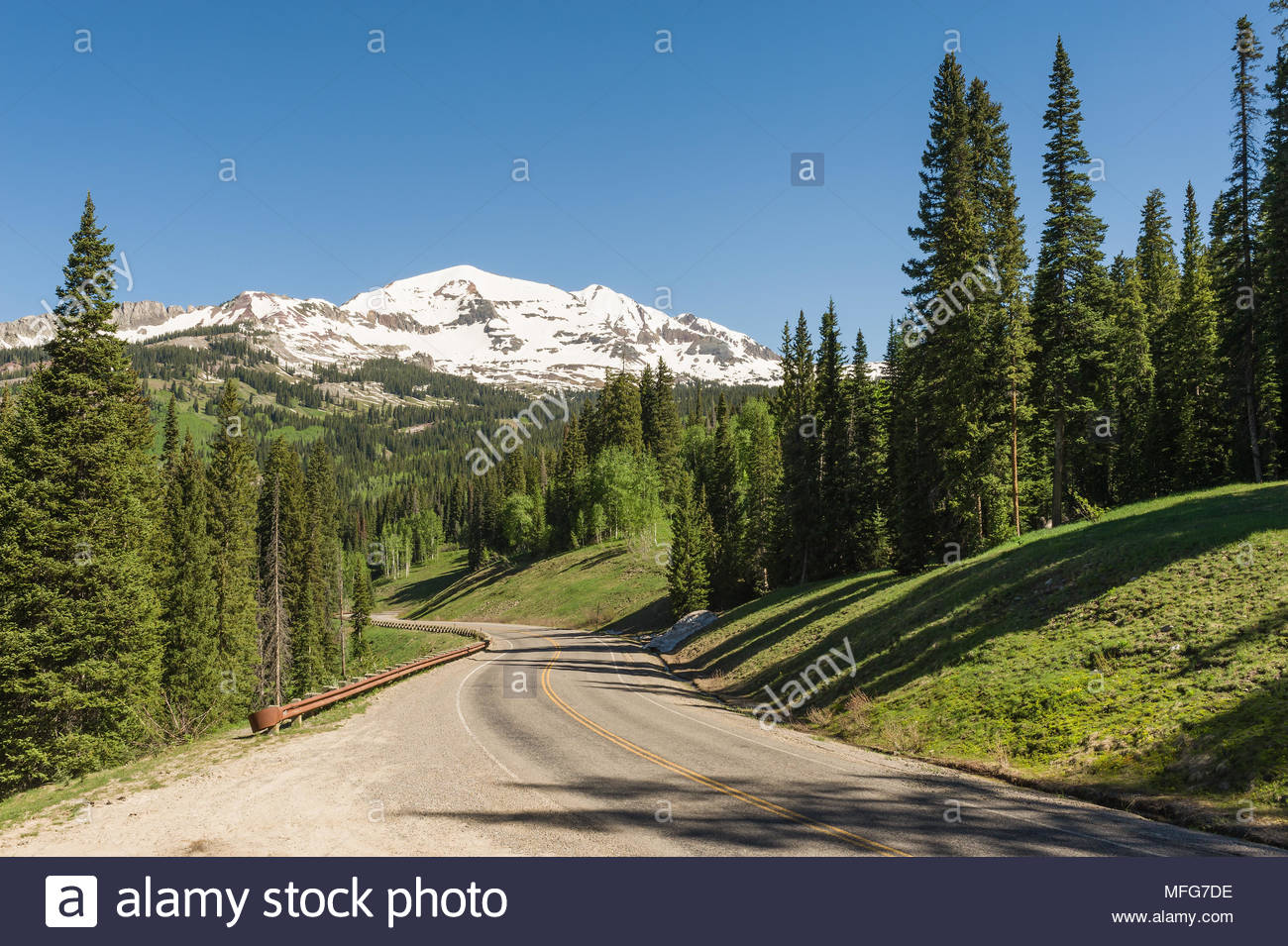 Ruby Mountain towers over the Kebler Pass Road west of Crested Butte, Colorado. - Stock Image