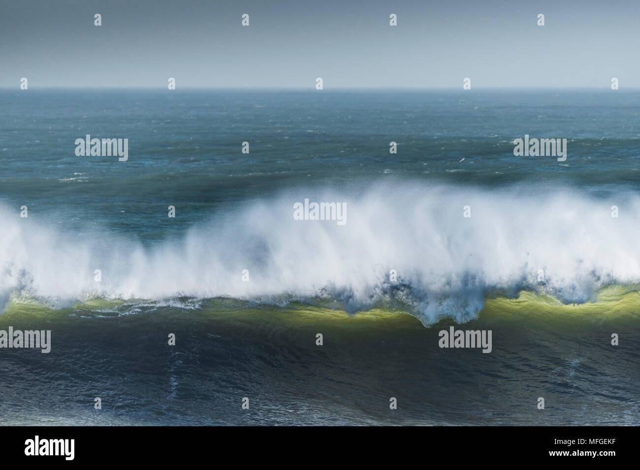 A large wave breaking at Fistral in Newquay in Cornwall. - Stock Image