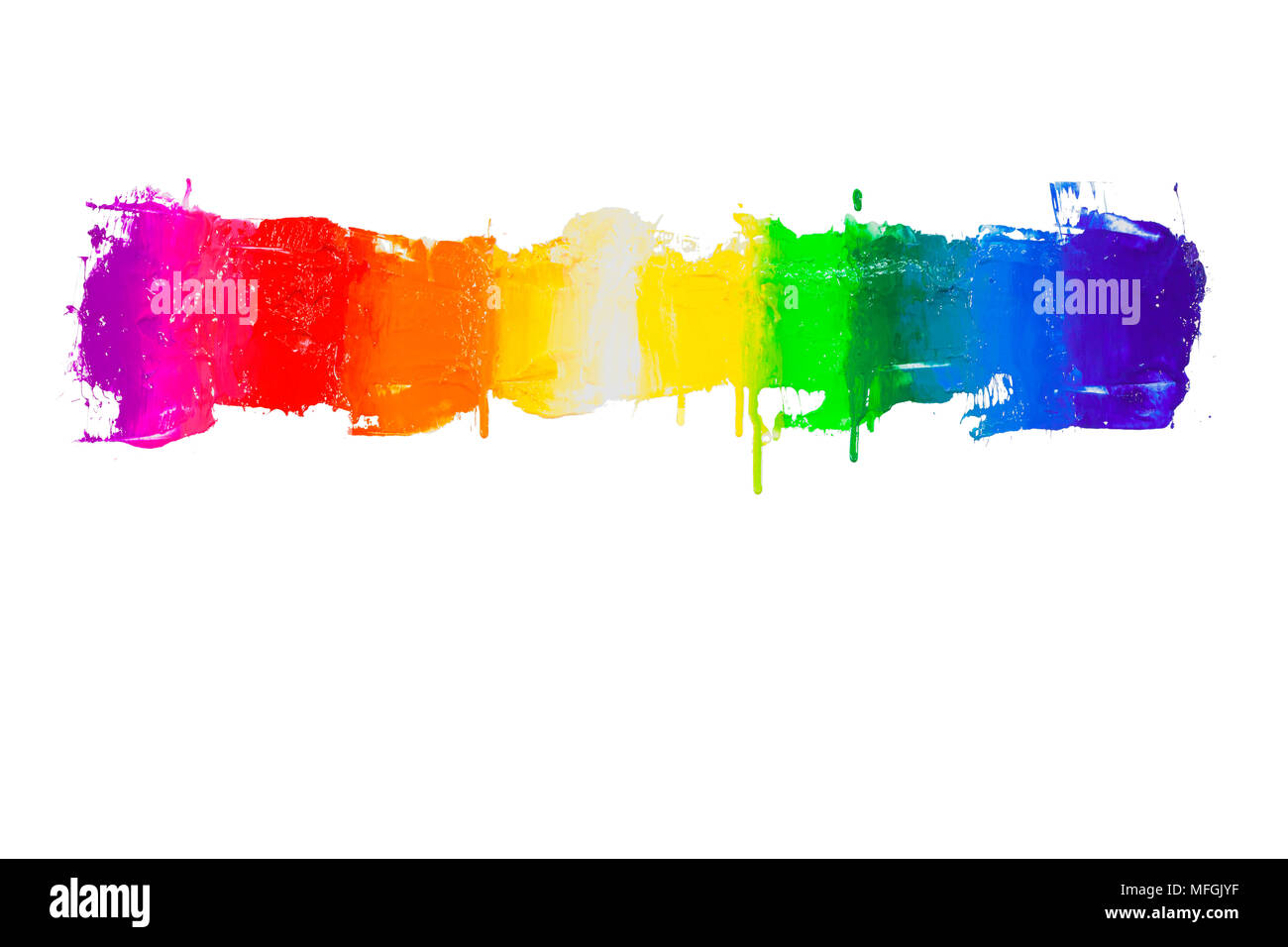 rainbow colors of paint dripping with clipping path - Stock Image