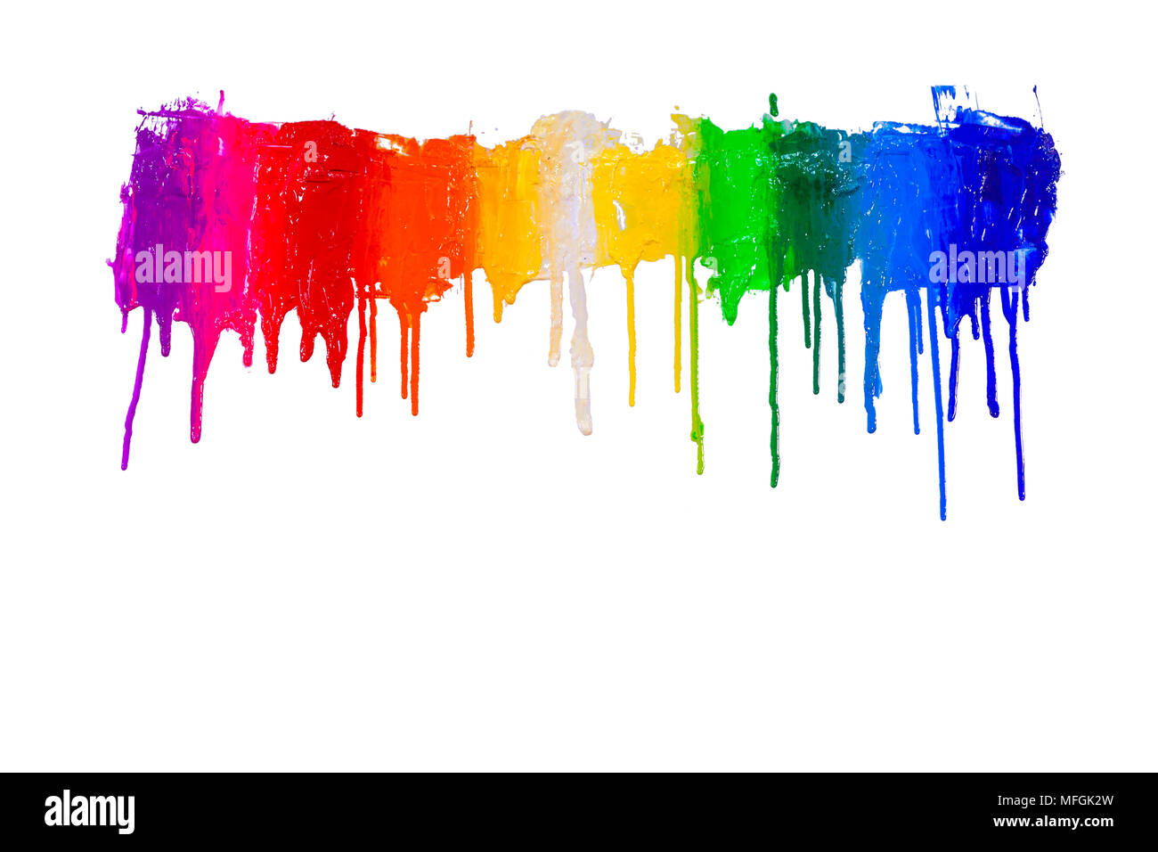 rainbow colors of paint dripping with clipping path Stock Photo