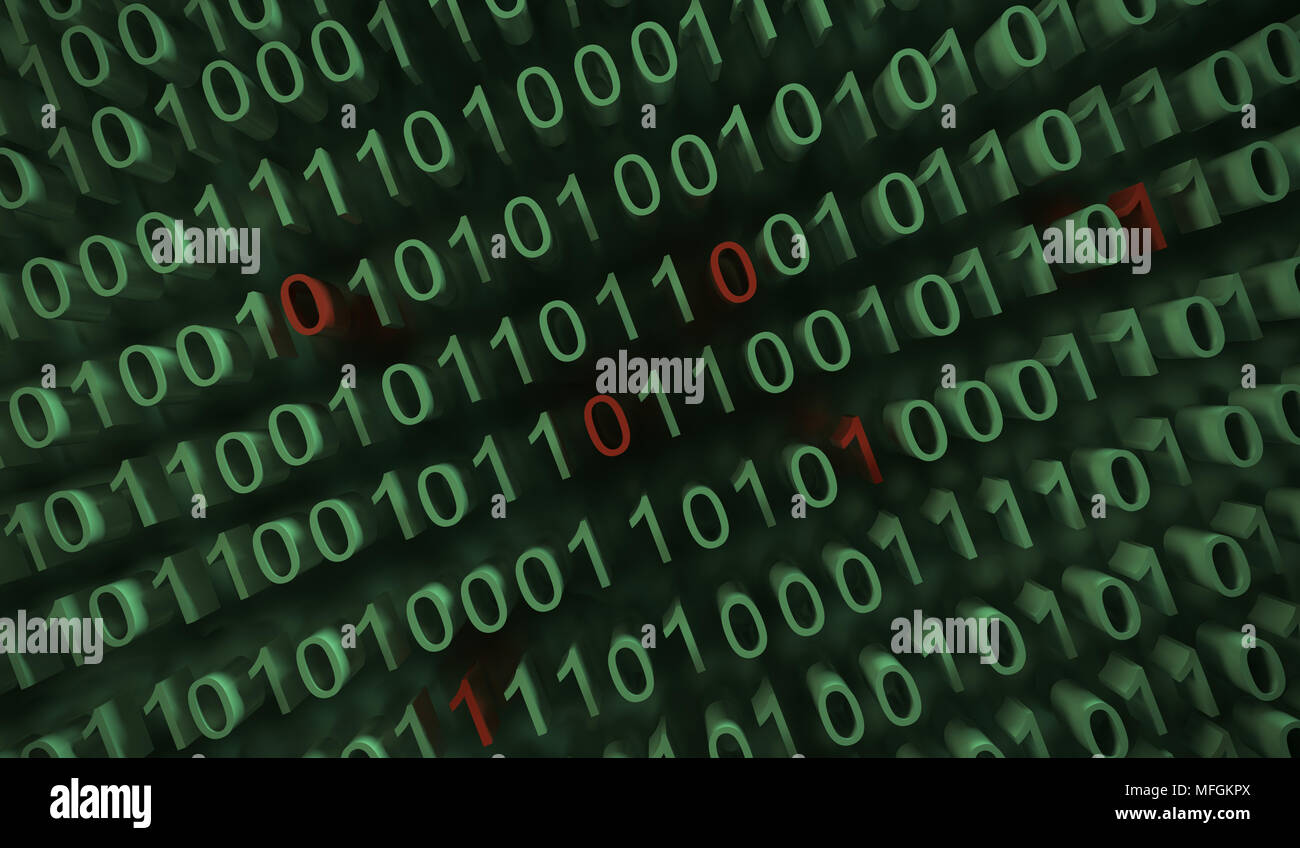 3d Rendering Of Binary Computer Code With Soft Focus Background Stock Photo