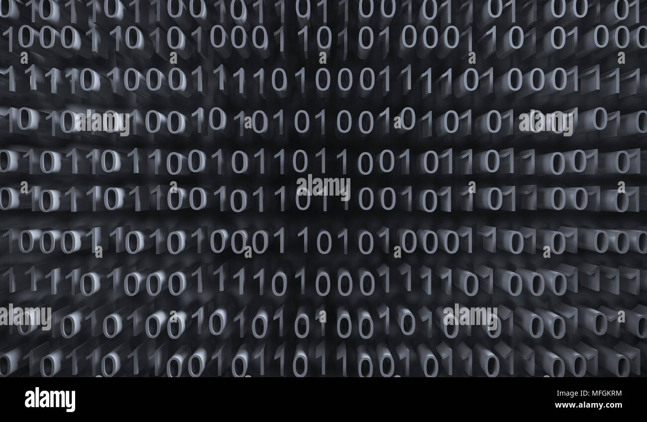 3d Rendering Of Binary Computer Code With Soft Focus Background - Stock Image