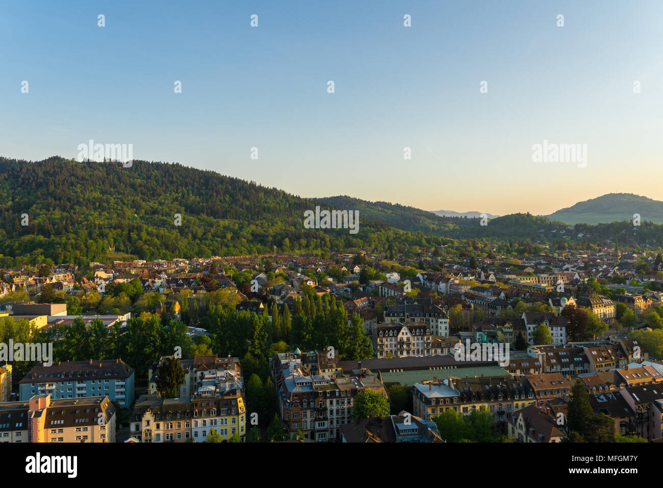 Germany, Green city Freiburg im Breisgau from above between nature forest landscape Stock Photo