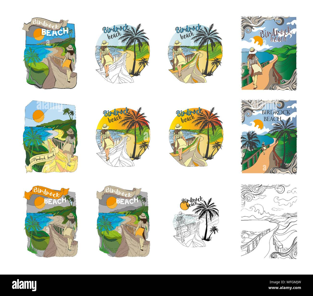 Illustration has rasterization issues such as blurriness and/or artifacting. Set ilustrations for kids books Stock Photo