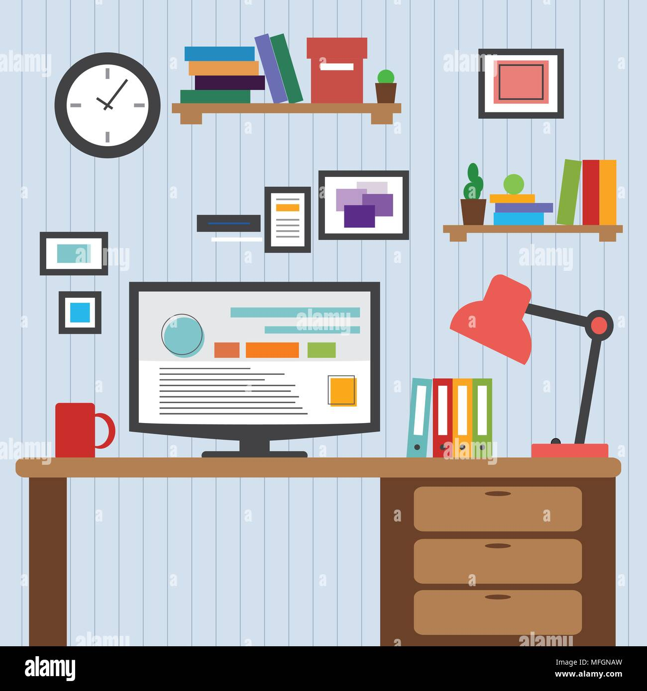 Flat design of modern office interior with designer desktop showing