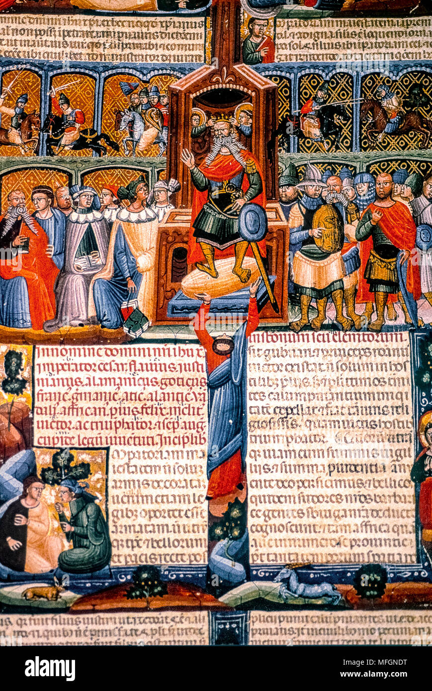 Italy Forlì Cesena - Biblioteca Malatestiana -the illuminated codes ' Institutiones of Giustiniano - depiction of Justinian and his court - about 1330 - Stock Image