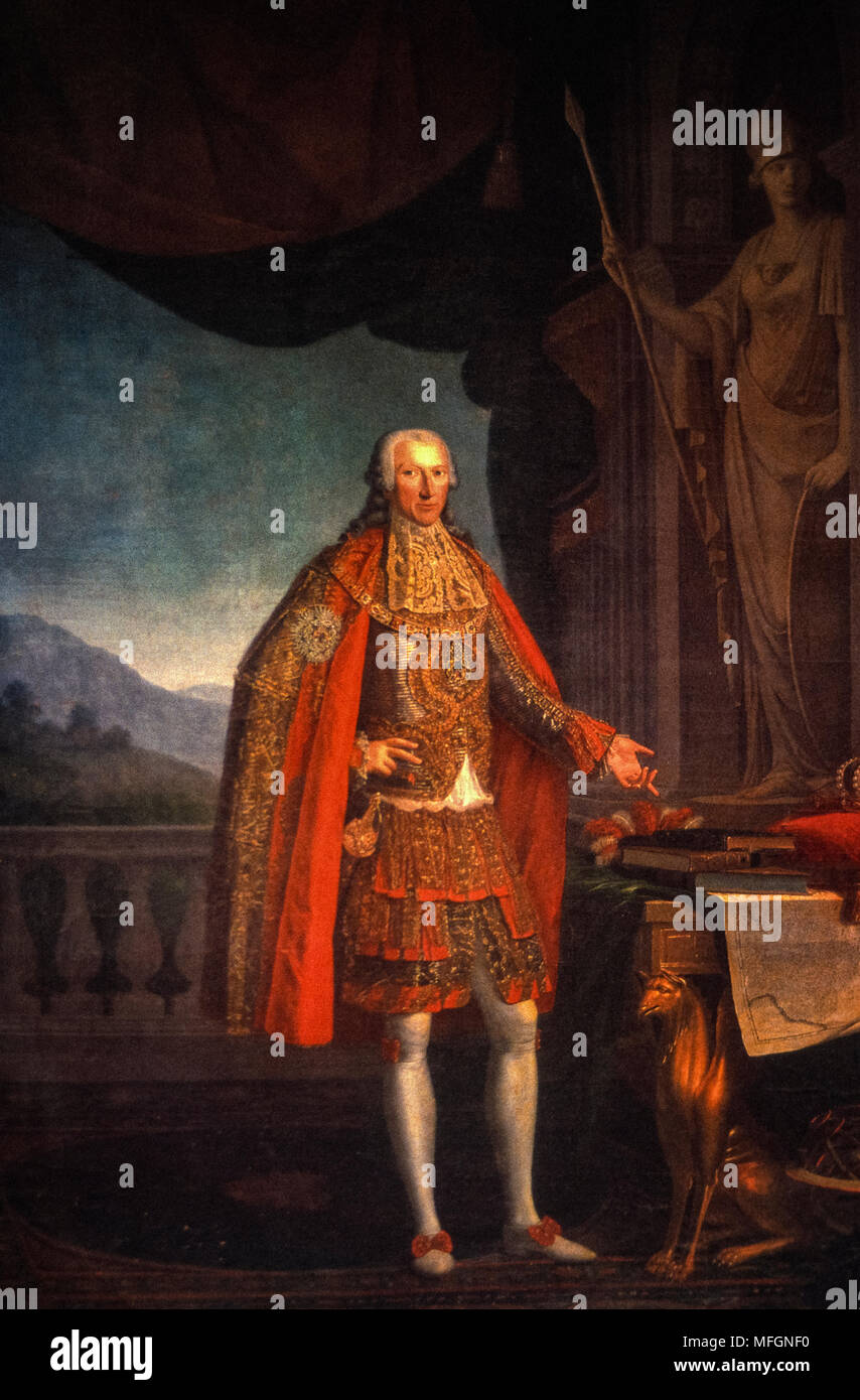 Italy -Torino Accademia Delle Scienze - King Vittorio Amedeo III  - 1789 Giuseppe Mazzola - Stock Image