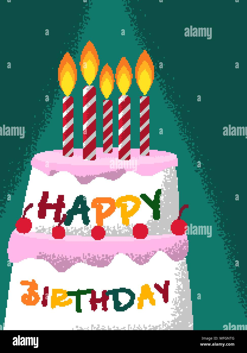 Tremendous A Cake With Candles For A Birthday For Your Design Vector Personalised Birthday Cards Veneteletsinfo