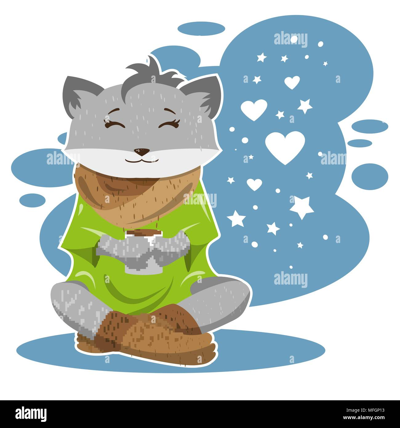 The fox in winter and cold drinks tea or coffee and thinks about love. Vector illustration - Stock Image