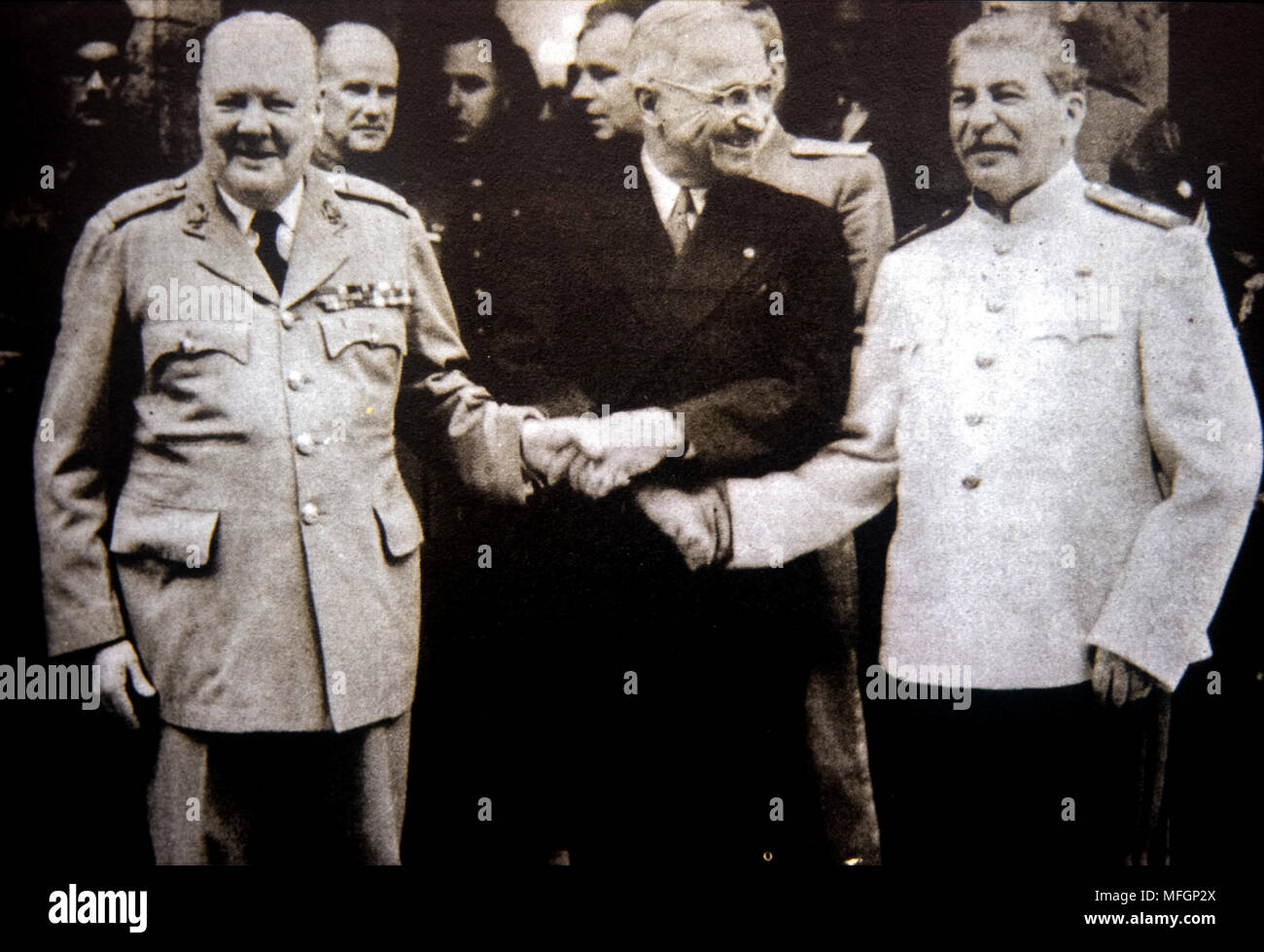 Winston Churchill, Harry Man and Stalin ,paused at the Potsdam conference -17 July to 2 August 1945 - Stock Image