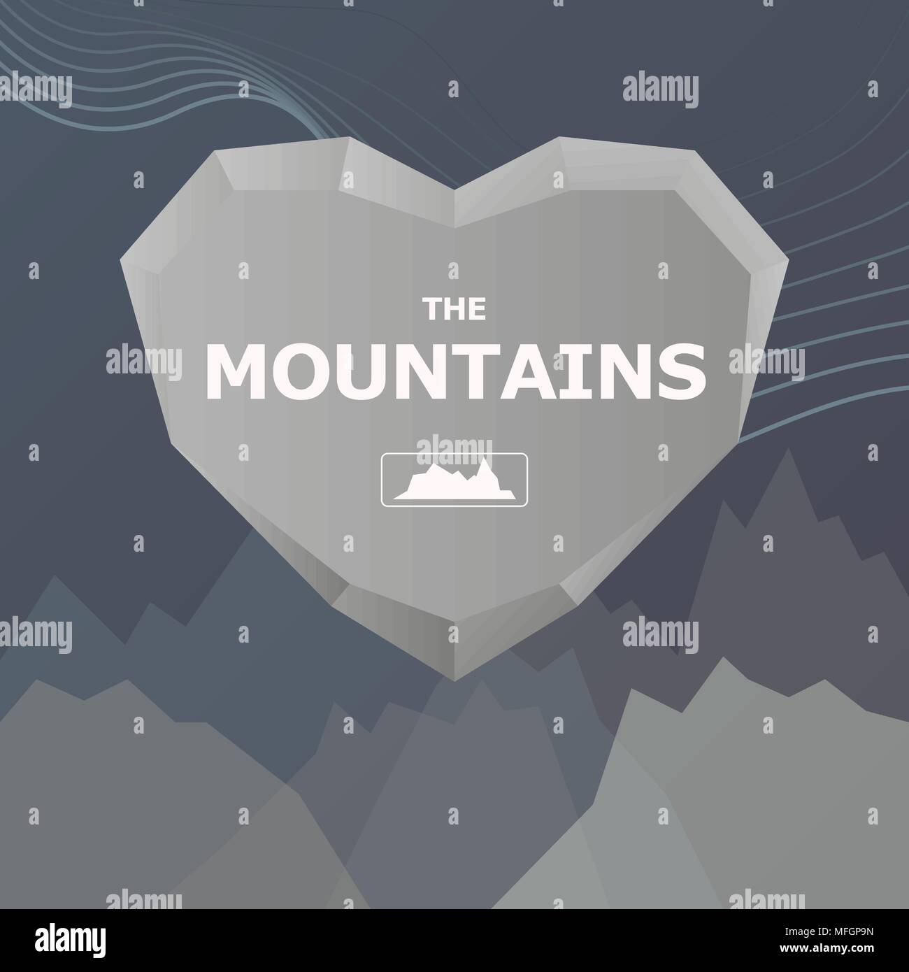 Logo for the company. Heart and stone mountains with place for text. Vector illustration - Stock Vector